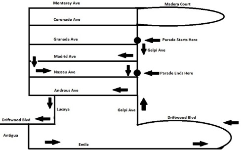 Driftwood Parade Route Map